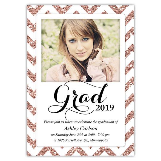 Zigzag Glitter Graduation Invitations