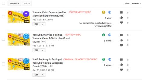 Demonitized YouTube Video Screenshot