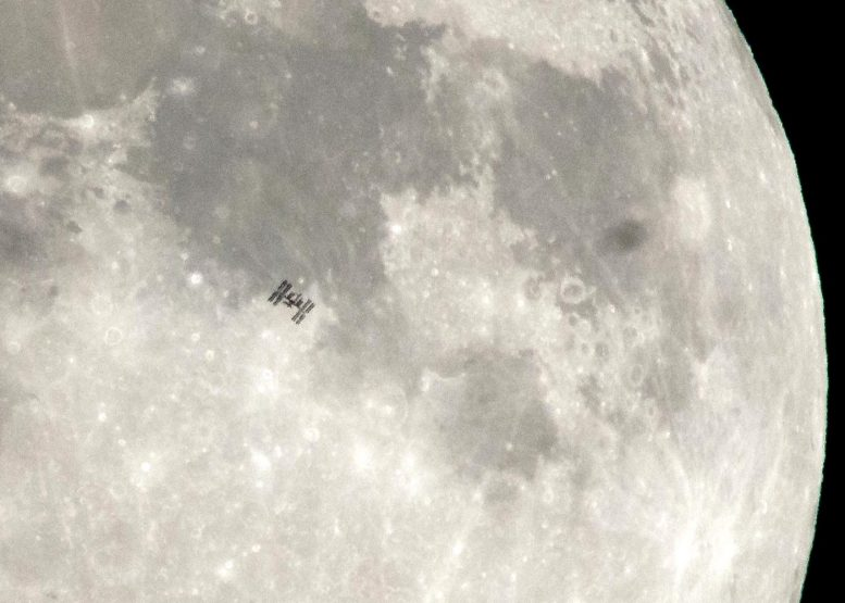 International Space Station Transits the Moon 2018 Crop