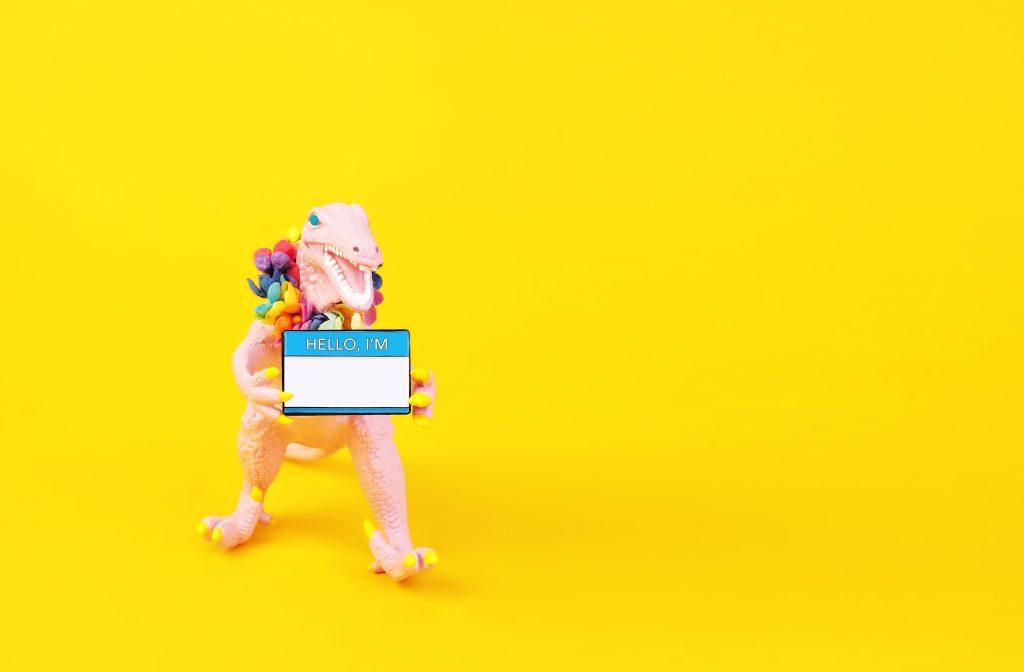 Image of a pink toy dinosaur holding a name tag on a yellow background.
