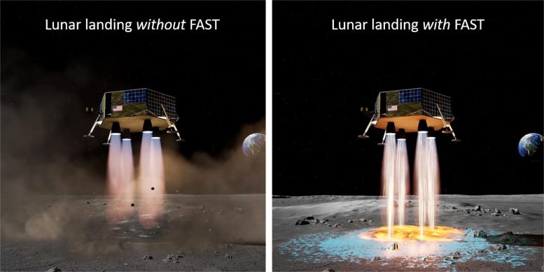 Lunar Lander With and Without Landing Pad Deposition Technology