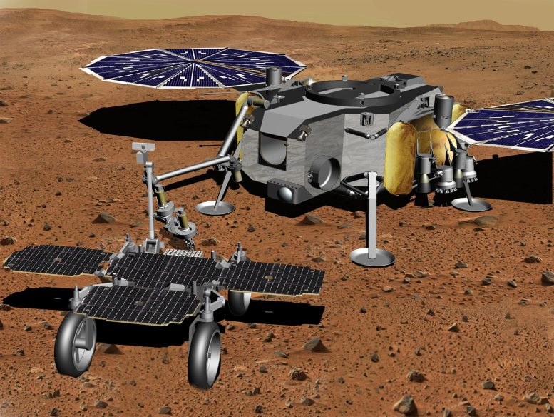 Robotic Arm Transferring Tubes From Fetch Rover to Lander