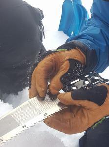 Vegaard illustrerer størrelsen på kantkornede snekrystaller. Foto: Marius KongBøe