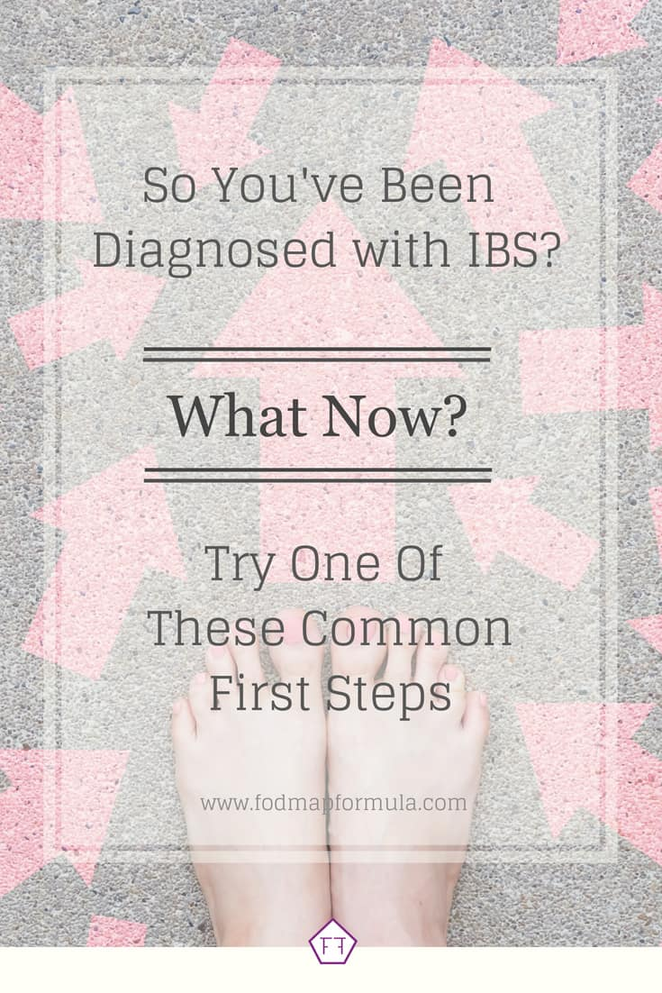 Bare feet surrounded by arrows with text overlay: So you've been diagnosed with IBS. What now? Try one of these common first steps.