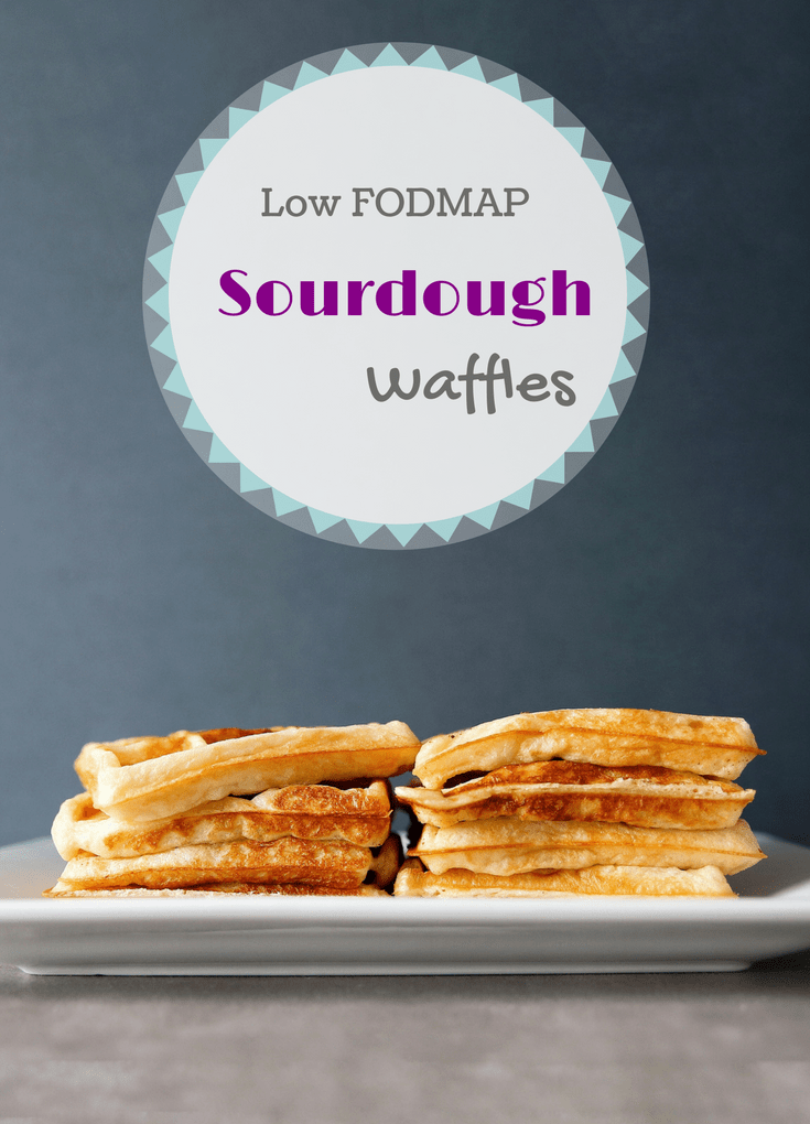 low FODMAP sourdough waffles stacked on plate with text overlay -