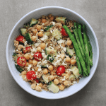 Low FODMAP Quinoa and Tuna Salad in bowl with side of green beans