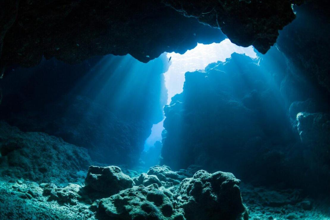 Light streaming into an ocean cave