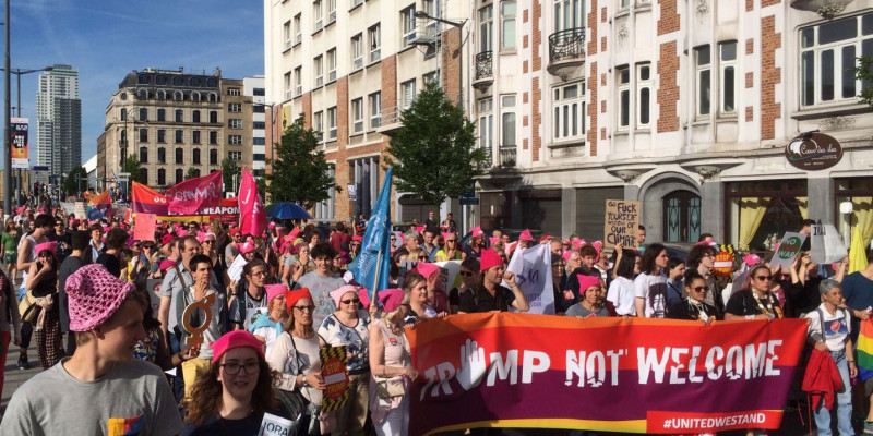 The front of a demonstration in Brussels against Trump's and NATO's militarism