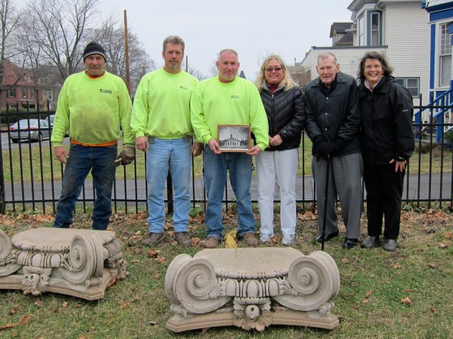 Moving Day,  2011 L to R:  Arold Construction employees Tim Maloney, Barry Kaiser, and Tom VanBuren with Suzanne Cahill Planner, City of Kingston, Ed Ford City Historian, and Jane Kellar  FHK at Sharp Burying Ground. December,  2011.