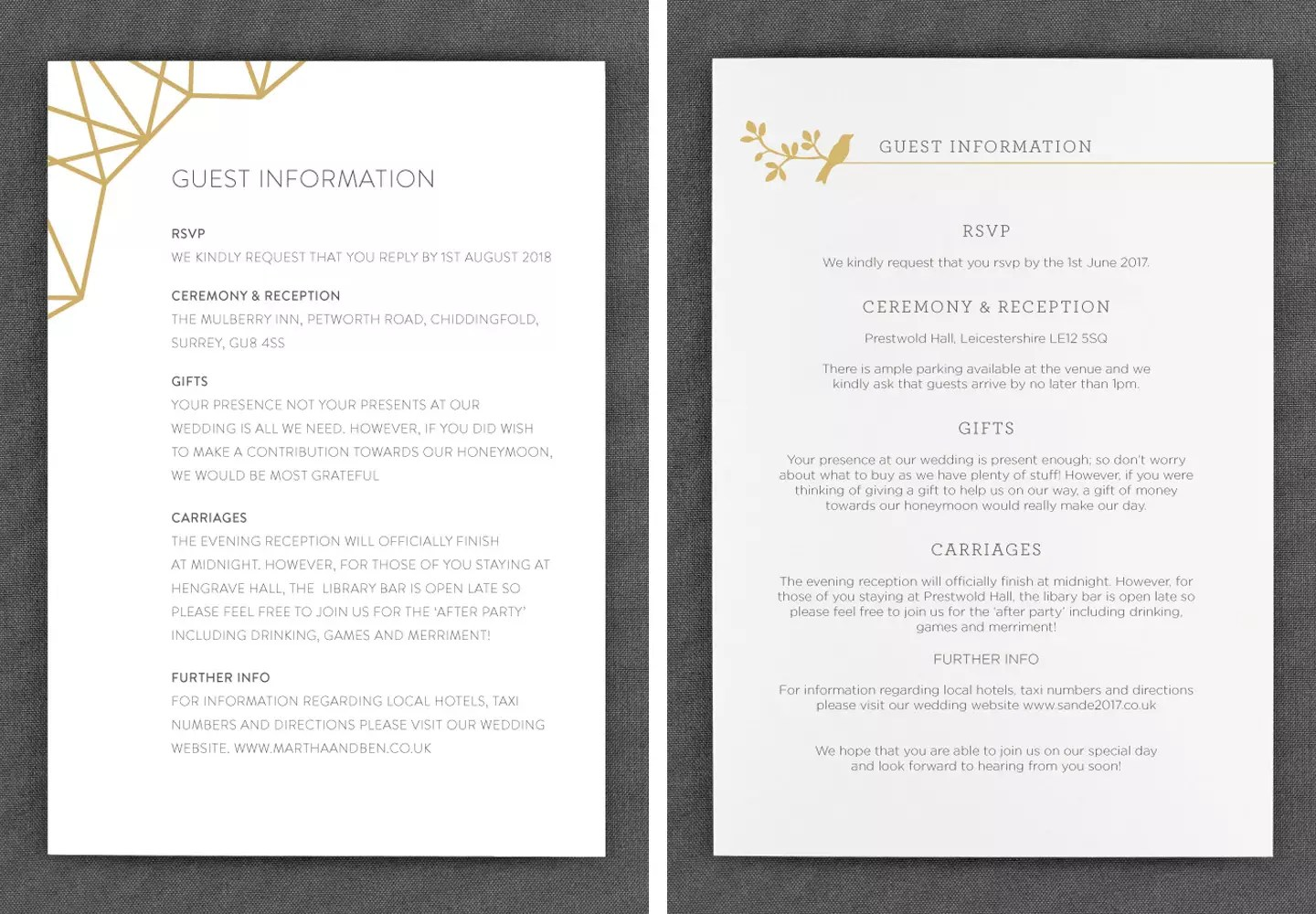 Wedding Guest Information Cards What To Include Foil Invite Co Blog