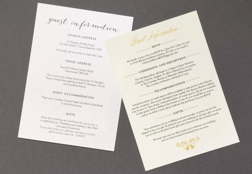Wedding Guest Information Cards Foil Invite Company Blog
