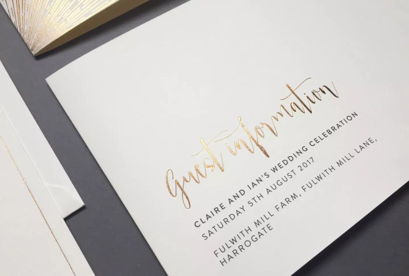 Wedding Guest Information Cards Things To Include Foil Invite Company Blog