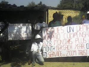 Former miners protest in Zambia