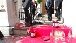 Red paint spilled in the entrance to Vedanta's 2012 AGM