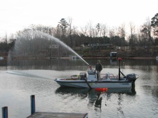 ABBEVILLE FIRE DEPT. FIRE BOAT Testing 6 inch Float Dock Strainer