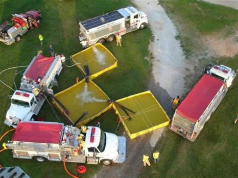 Aerial view of county wide water shuttle training