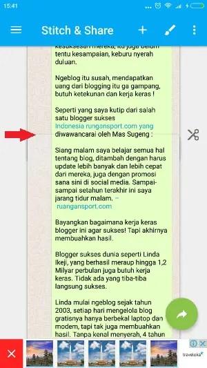 cara screenshot panjang selain halaman web di android