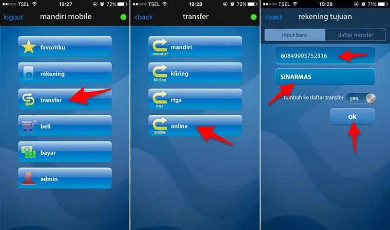 Isi Ulang Bolt Via Mobile Banking Mandiri