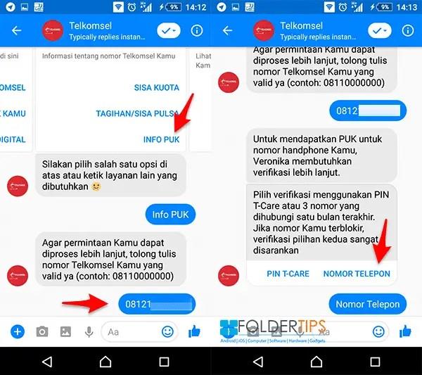 Mengetahui PUK Telkomsel melalui FB Messenger