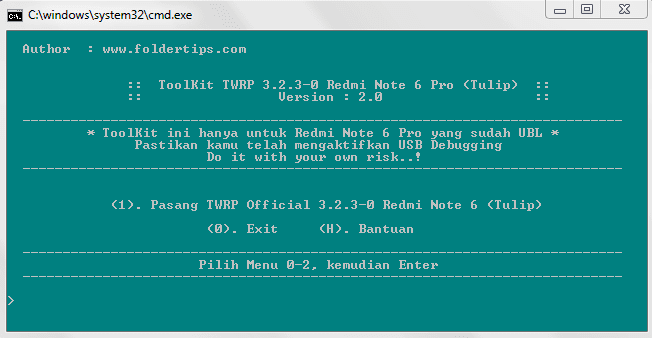 cara pasang twrp redmi note 6 pro (tulip)