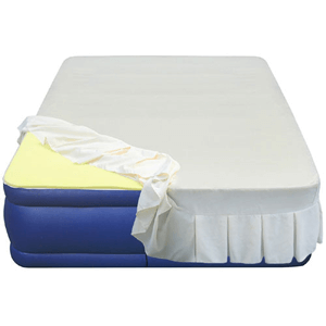 20 Flocked Top Air Mattress With 1 Memory Foam Topper And Skirted Sheet Cover