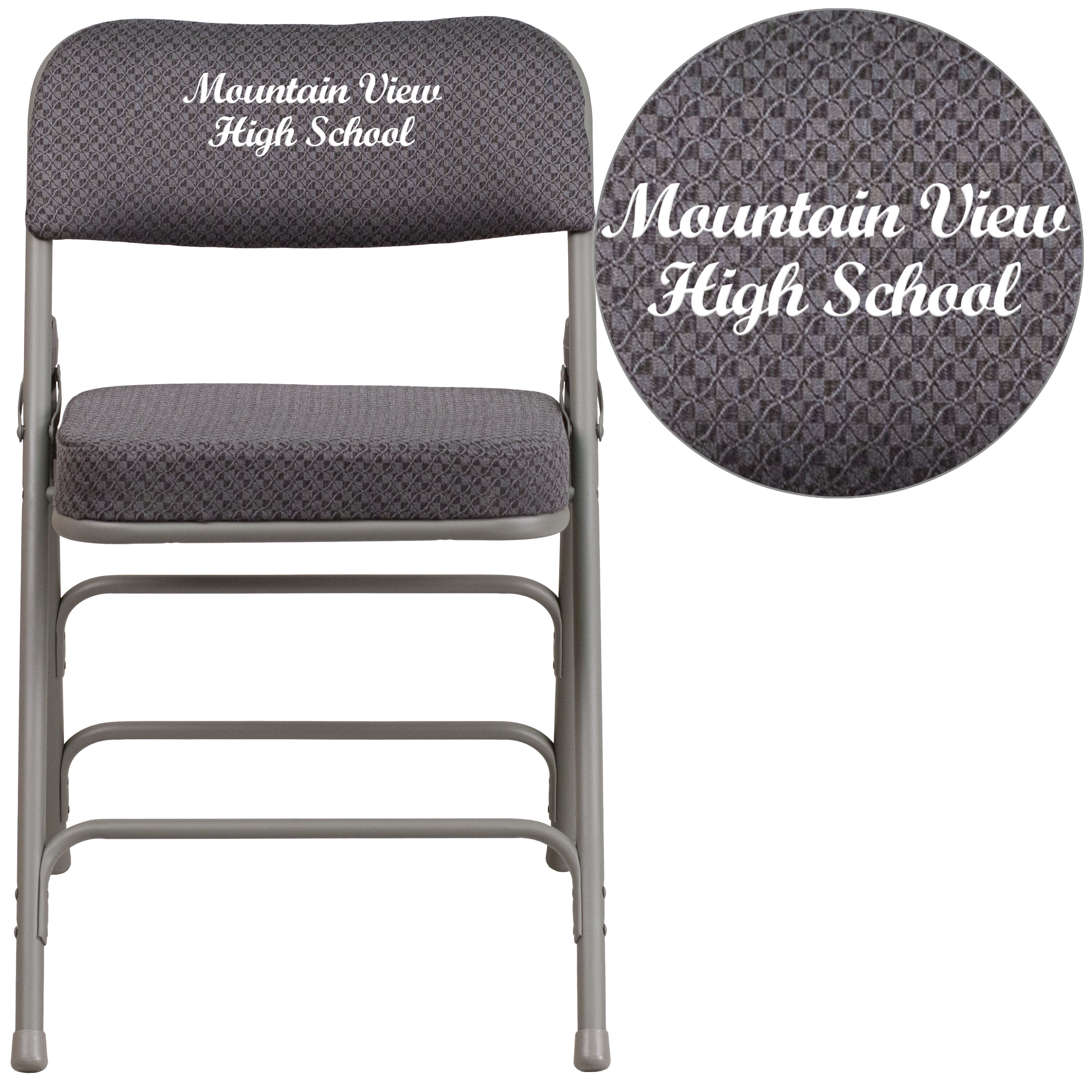 folding chair embroidered chairs living room gray fabric aw mc320af gry emb gg