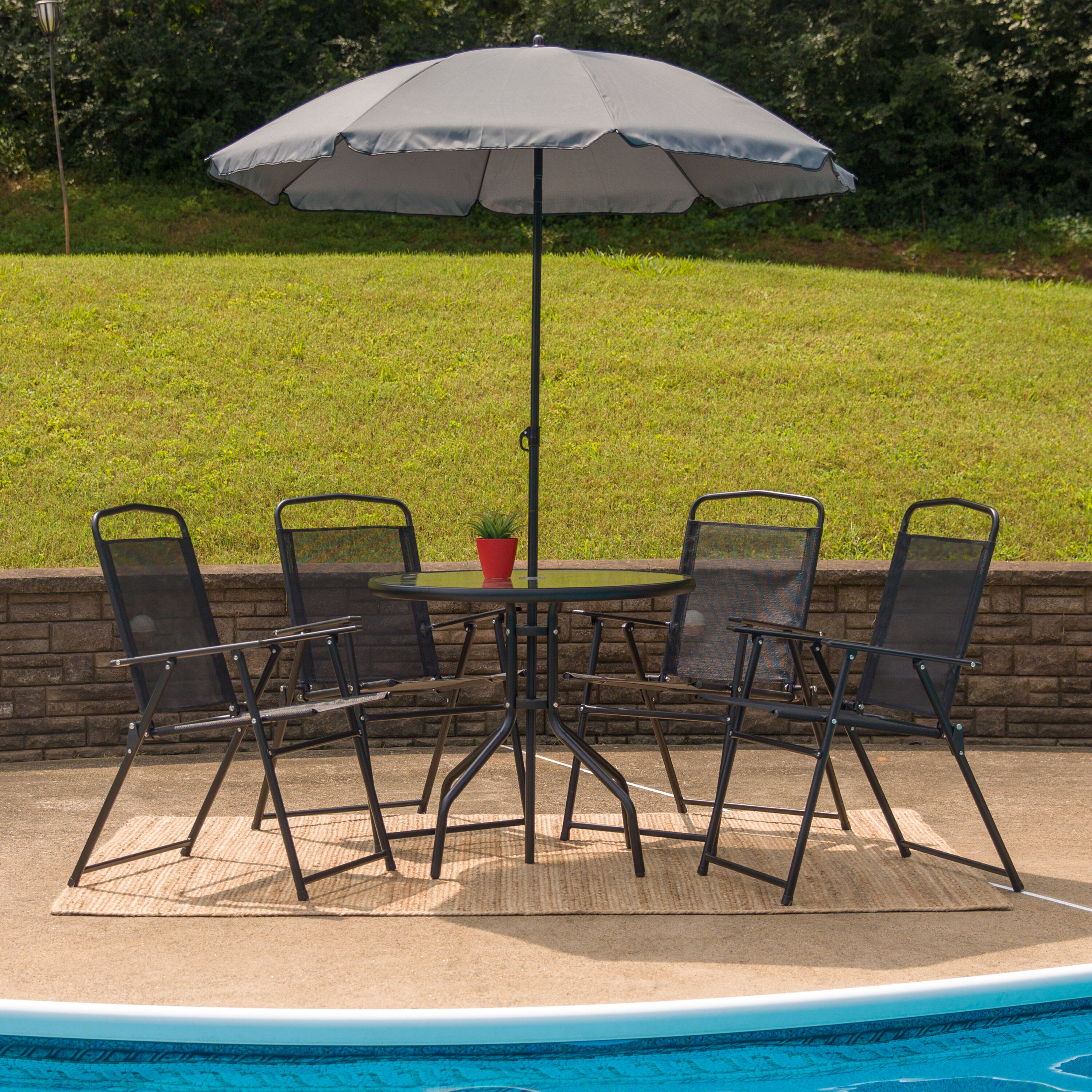 folding chair with umbrella how to paint kitchen table and chairs 6pc black patio set gm 202012 bk gg foldingchairs4less com