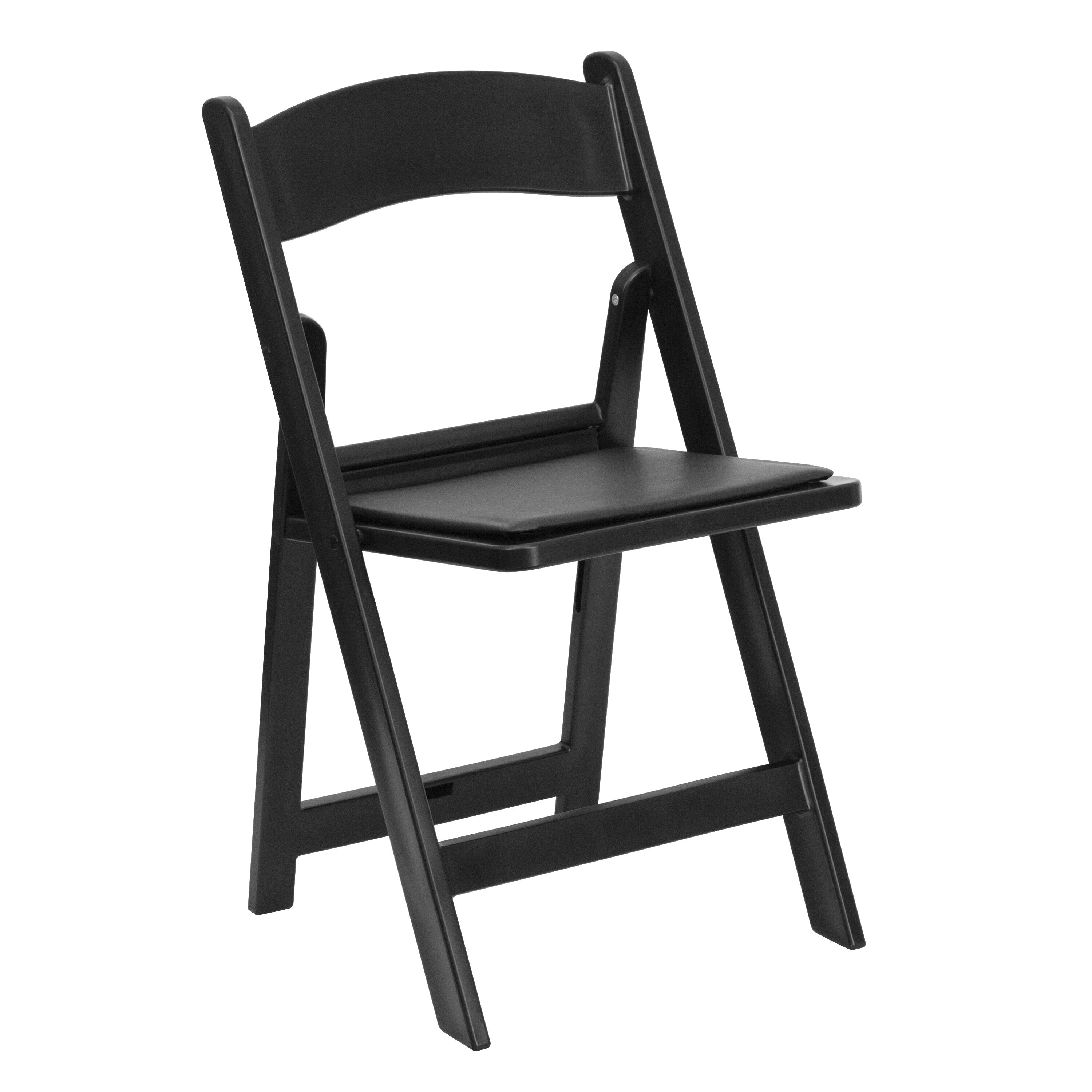 cushioned folding chairs salon shampoo bowl and chair foldingchairless metal plastic capacity black resin with vinyl padded seat