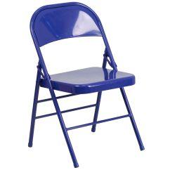 Blue Metal Folding Chairs Overstock Zero Gravity Chair Cobalt Hf3 Gg Foldingchairs4less