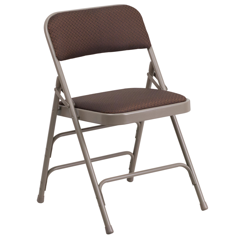 folding chair fabric steel design brown metal aw mc309af brn gg foldingchairs4less com