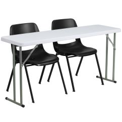 Table Chair Set Swivel Base Foldingchairs4less Plastic Training Tables Sets 18 X 60 Folding With 2 Black Stack Chairs