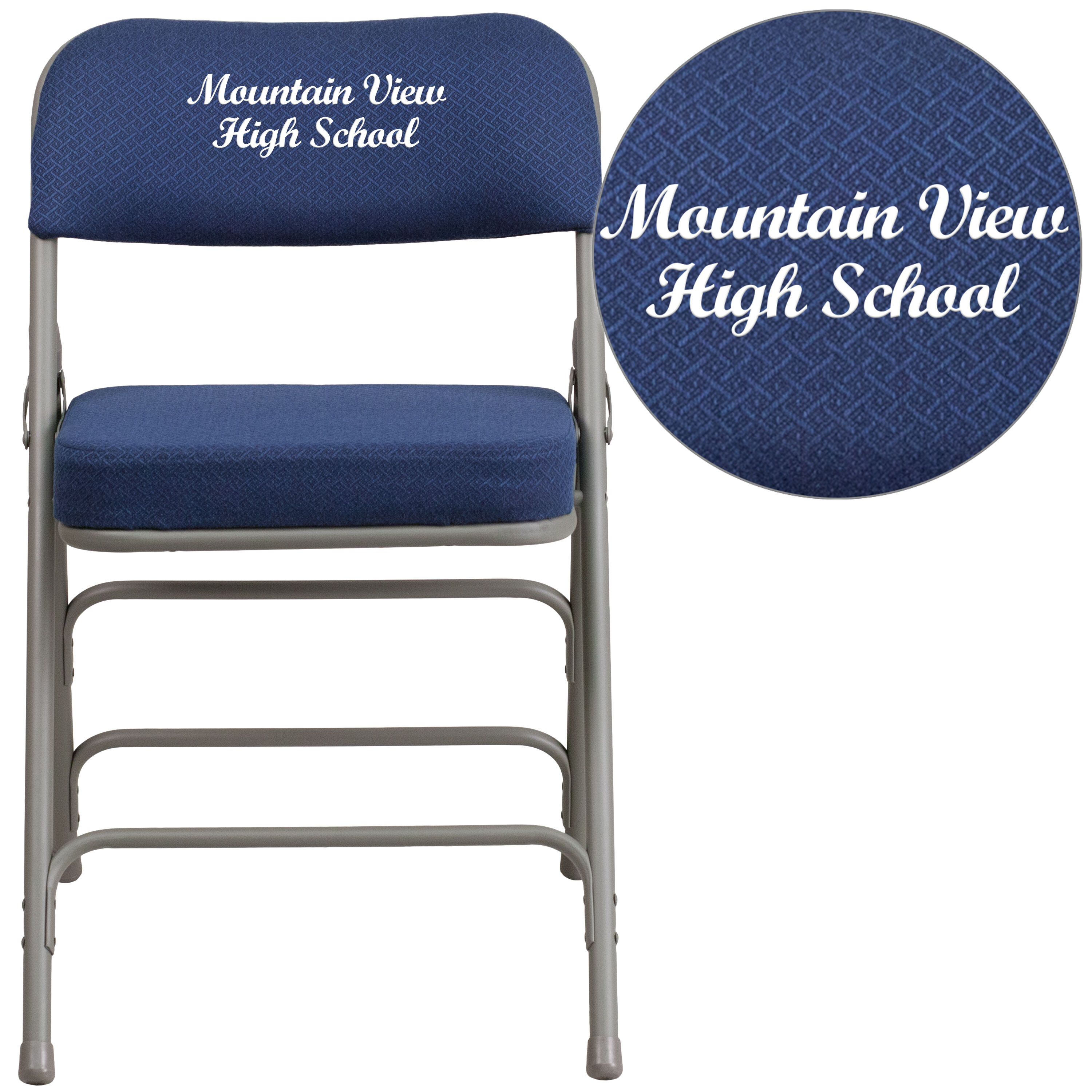 blue metal folding chairs revolving chair hsn number foldingchairs4less embroidered hercules series premium curved triple braced double hinged navy fabric