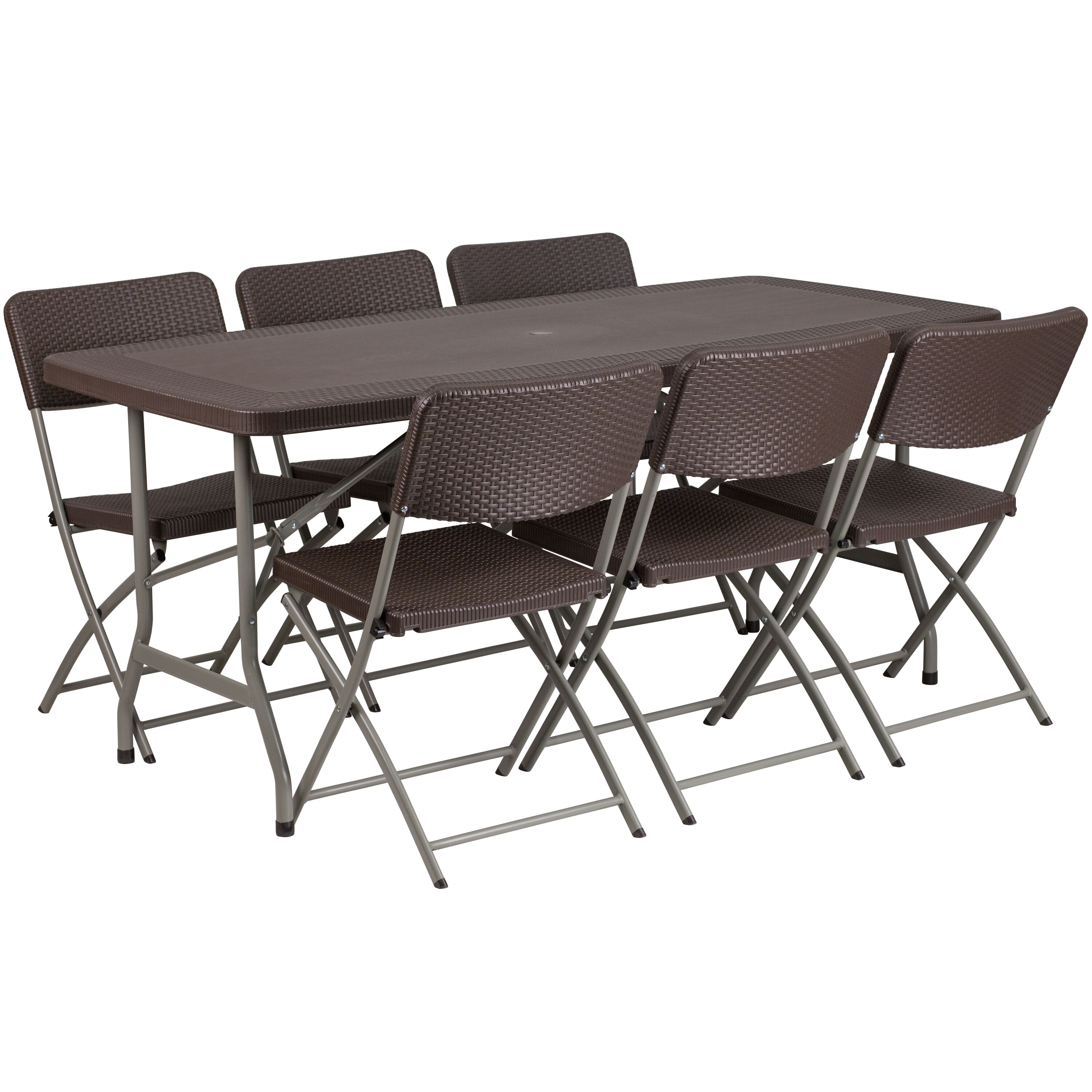 folding table and chair set white covers for sale foldingchairs4less sets 32 5 w x 67 l brown rattan plastic with 6 chairs
