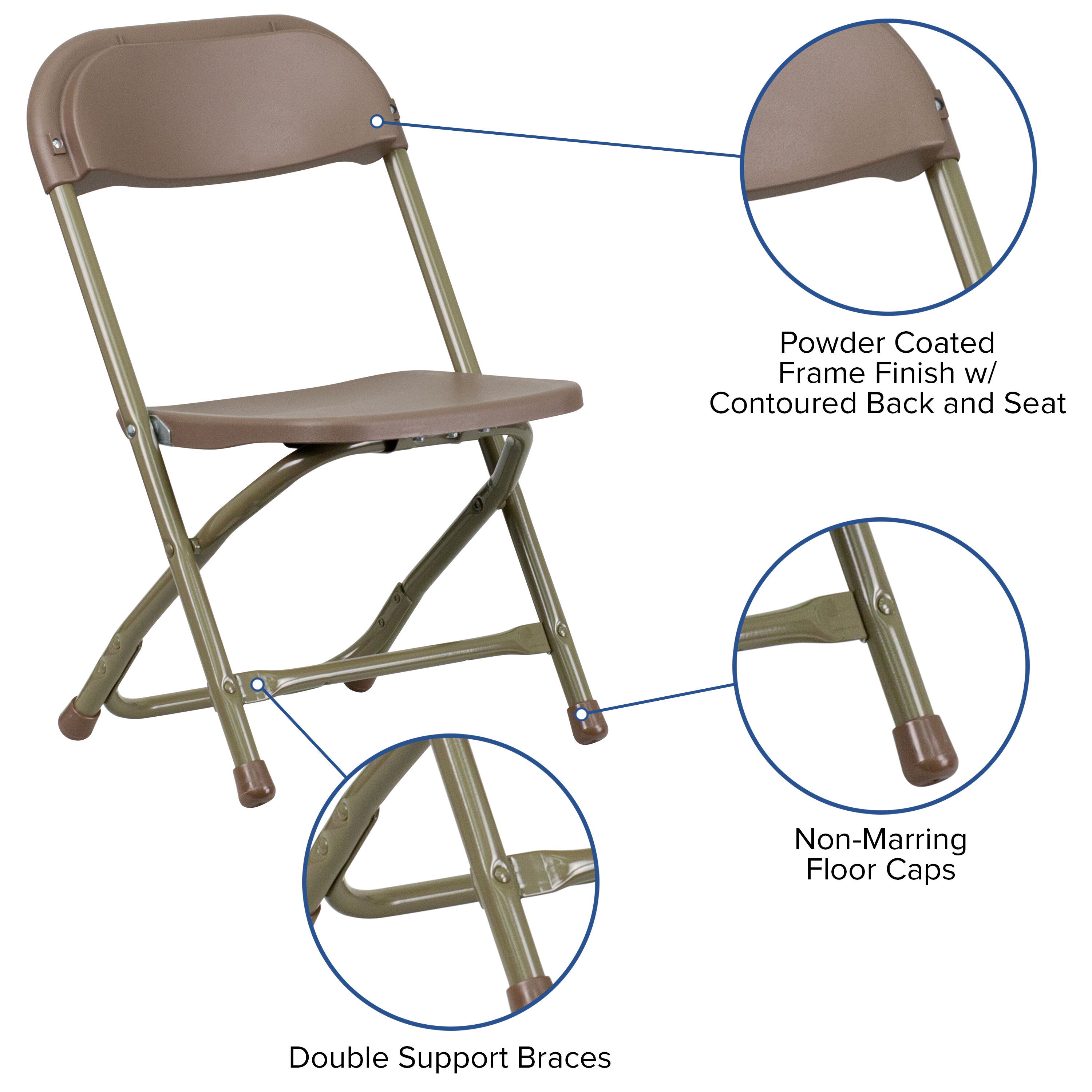 Kids Brown Plastic Folding Chair  Inset 5