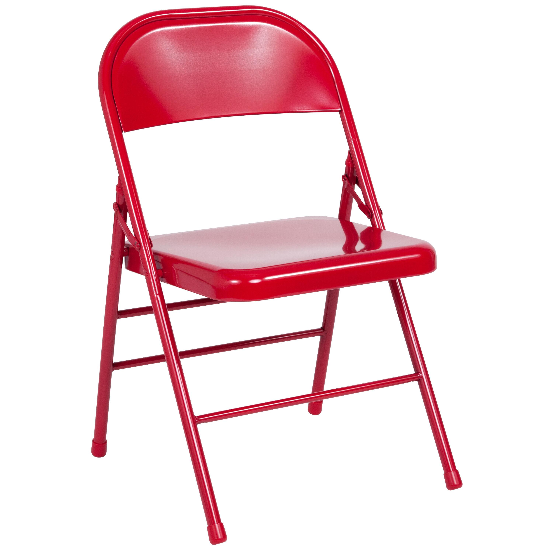 Hercules Series Triple Braced Double Hinged Red Metal Folding Chair