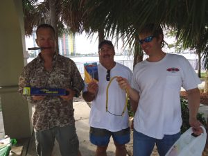 Jim Fife holding up the Innerloc SP3 tip ($75 value)that he won at the PB Freedivers tournament sponsored by Foldspear