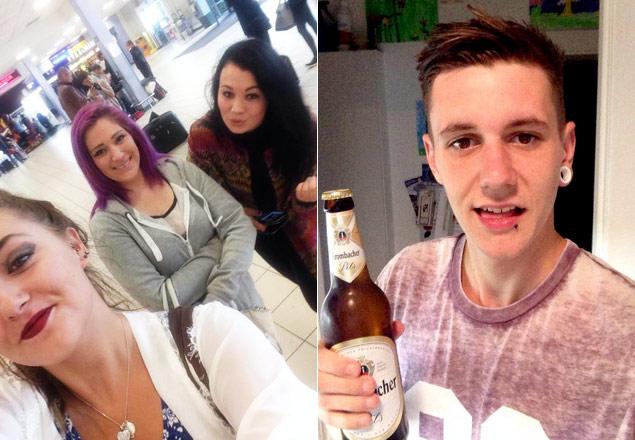 As três garotas confrontaram o namorado  em aeroporto de Londres (Foto: Reprodução/Twitterl)