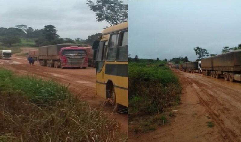 Ônibus escolar impedido de trafegar por conta de caminhões parados na rodovia BR 163(Foto:Reprodução rede sociais)