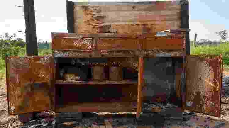 José Cícero da Silva/Agência Pública Restos de um armário carbonizado na ocupação da fazenda 1.200 Imagem: José Cícero da Silva/Agência Pública