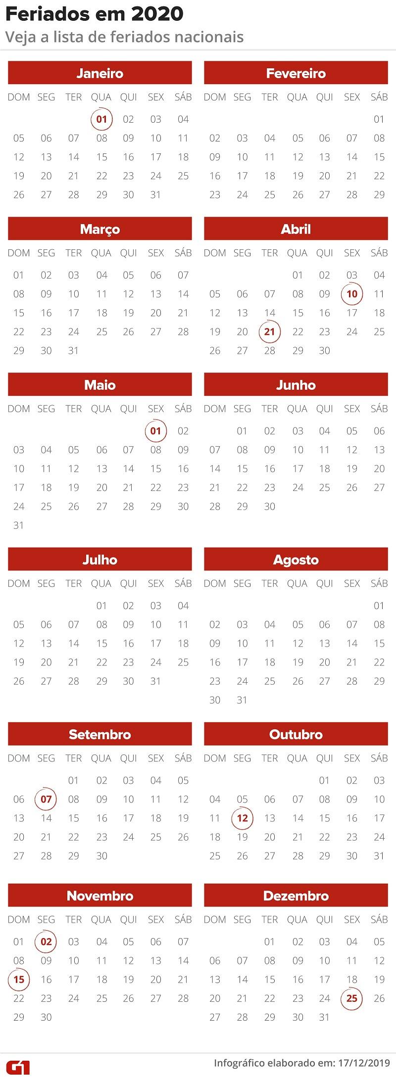 Calendário de feriados de 2020 — Foto: Arte G1