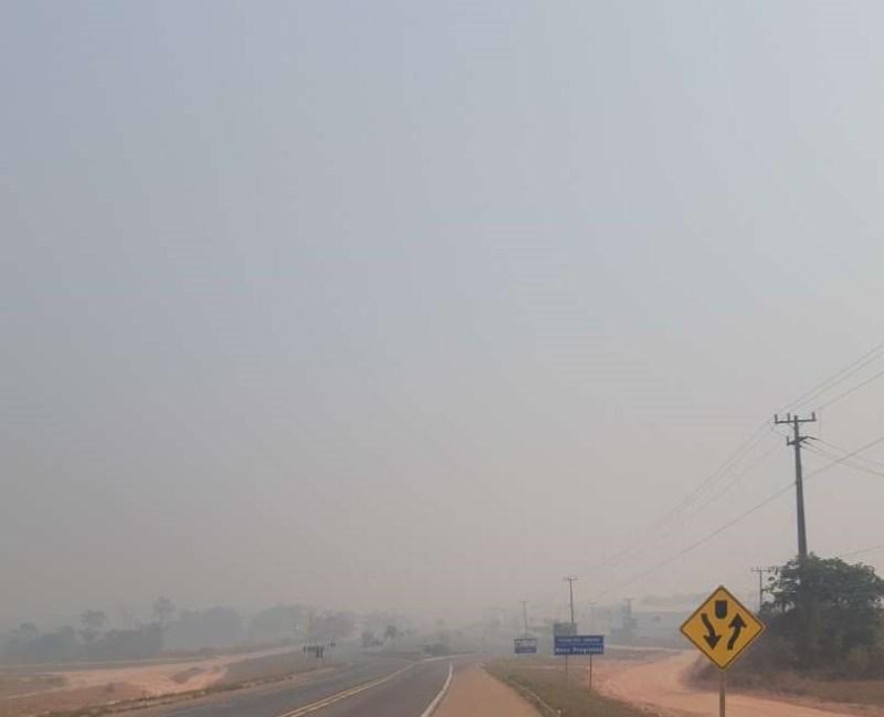 Fumaça cobre a cidade de Novo Progresso --PA(Foto:Jornal Folha do Progresso)