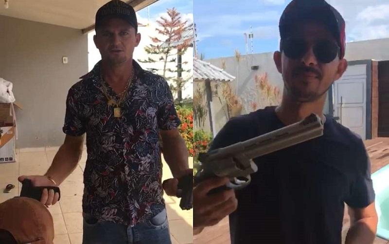 Polaquinho exibiu armas, munição fuzil e ameaça invadir área no garimpo do Cripurizão em Itaituba (Foto:Reprodução)