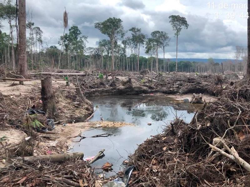 Área de garimpo desativado pelo Exército na região do Surucucu — Foto: Divulgação/Exército Brasileiro