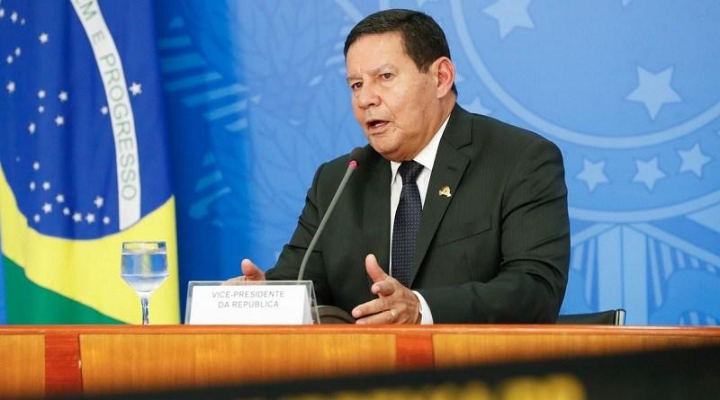 O vice-presidente da república, General Hamilton Mourão, durante entrevista coletiva à imprensa no Palácio do Planalto