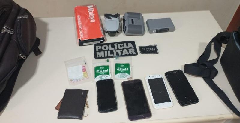 Objetos roubados e recuperados pela policia militar (Foto:PM)