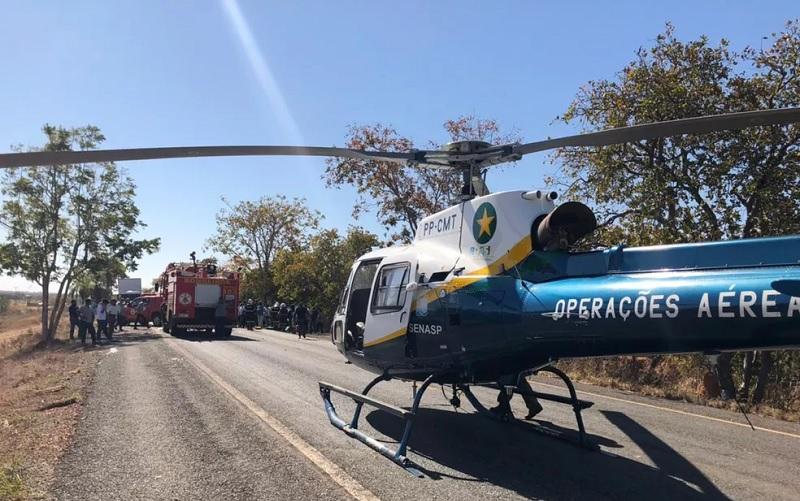Crianças foram transferidas de helicóptero para Cuiabá — Foto: Divulgação