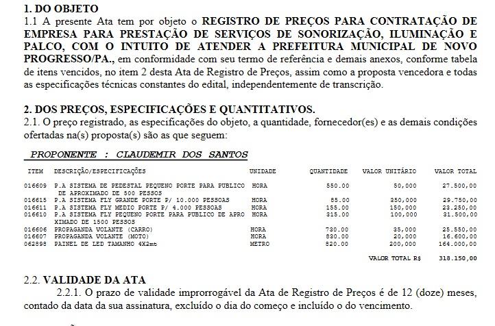 Fonte:Prefeitura de Novo Progresso.