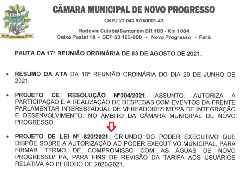 Pauta Camara Municipal Novo Progresso