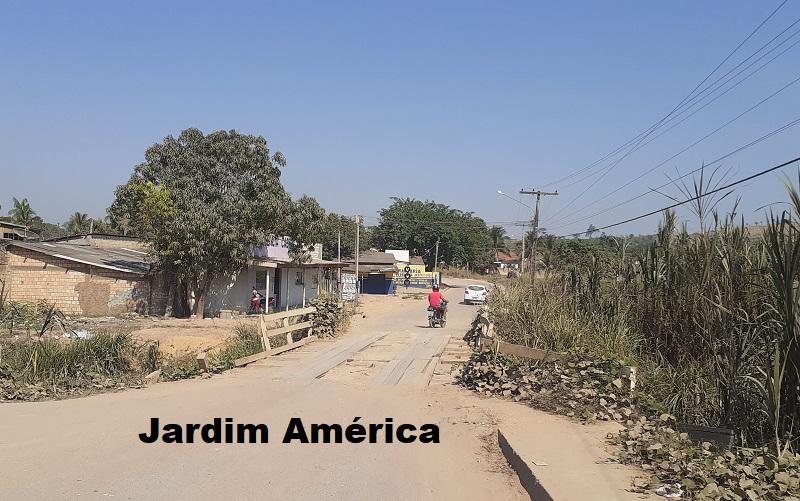 Ponte de acesso ao Jardim América esta danificada e abandonado pelo poder publico municipal. (Foto:Adria Karoline para Jornal Folha do Progresso)