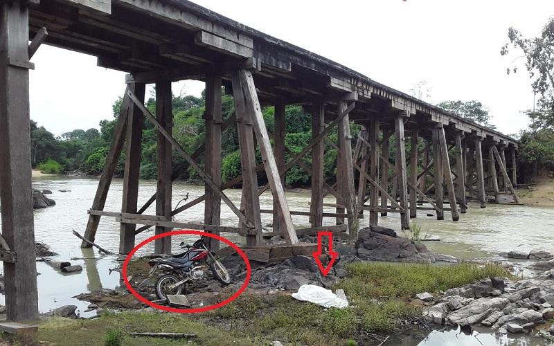 Ponte sobre rio jamanxim Vila Isol (Foto:Via WhatsApp)
